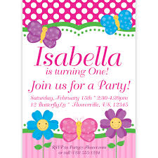 butterfly invitation pink polka dots and stripes butterflies