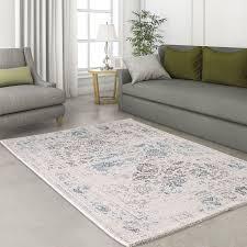 Wohnzimmer Modern Vintage Vintage Flachflor Designer Teppich Neu Wohnzimmer Weiss Grau Blau