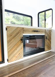 rustic modern cabinet with tv lift mountainmodernlife com