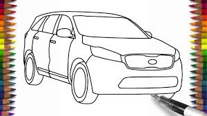 car drawing how to draw kia sorento step by step for beginners car drawing