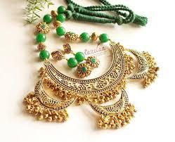 ethnic necklace images Ethnic statement green gemstone antique gold tone necklace set at jpg