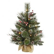 snow tip tree with pine cones and berries vck3076