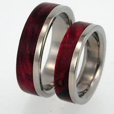 titanium wedding ring sets titanium interchangeable wood inlay ring set wooden wedding band