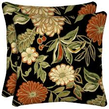 Square Sofa Pillows by Shop Arden Outdoor Set Of 2 Floral Black Uv Protected Square