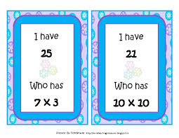 winter i have who has multiplication facts to 10x10