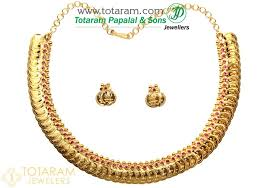 red gold necklace images 22k gold 39 lakshmi kasu 39 necklace earrings set with red stones jpg