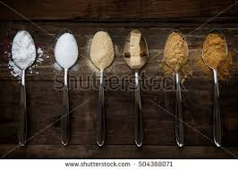 different kinds sugar spoons such coconut stock photo 504368080