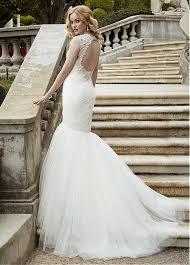 elegant mermaid wedding dress with gorgeous open back beading