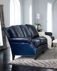 Navy Blue Leather Sofa Havelock Leather Sofa Traditional Sofas Horchow Couches