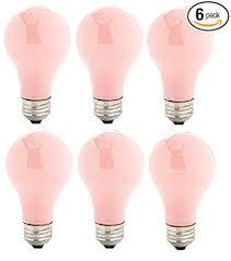 soft pink light bulbs pack of 6 60 watt a19 soft pink incandescent medium base light bulb
