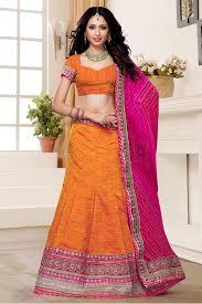 Buy Violet Embroidered Art Silk Art Silk Party Wear Lehenga Choli In Orange Colour Party Wear