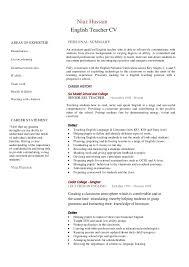 professional cv for english teacher