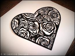 personal use heart shaped roses border paper cutting template