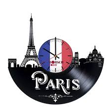 paris skyline design vinyl record wall clock get unique living