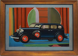 nicklas gespar art deco classic car portrait painting for sale