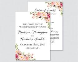 wedding reception programs reception program etsy