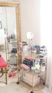 lovee using the bar cart for makeup beauty and office room tour