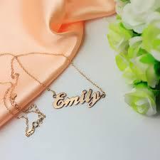 Gold Cursive Name Necklace Cursive Script Name Necklace Solid Rose Gold
