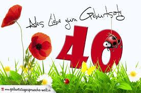 glückwunsch zum geburtstag sprüche geburtstagskarte mit blumenwiese zum 40 geburtstag