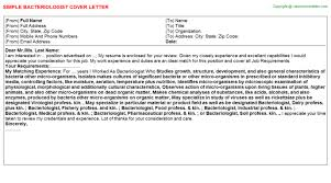 bacteriologist cover letter