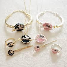 ring bracelet necklace images Kawaii cat galaxy necklace ring bracelet hairpin goromiau jpg