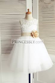 wedding tulle ivory lace tulle wedding flower dress with chagne belt bow
