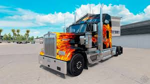 w900 kenworth truck skin tigers in flames on the truck kenworth w900 for american