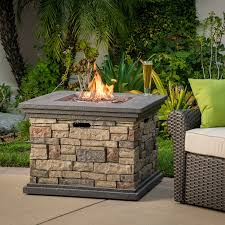 Firepit Rocks Outdoor Square Liquid Propane Pit With