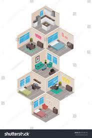 isometric floor plan isometric house rooms home set stock vector 509106739 shutterstock