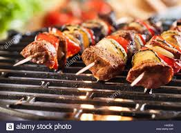 Focus Grill Grilling Shashlik On Barbecue Grill Selective Focus Stock Photo