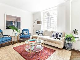 Living Room Furniture New York City Blue Accent Chair Wood Floors Glass Coffee Table Eclectic Indoor