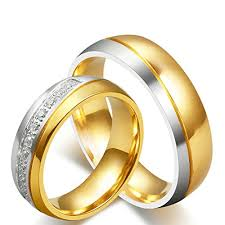 titanium gold rings images Anazoz jewelry his and her for titanium 18k gold jpg