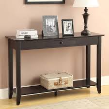 furniture console table with drawers behind the couch bar table
