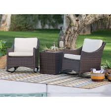 3 Piece Patio Set Coral Coast Harrison 3 Piece Club Style Rocking Chairs With Side
