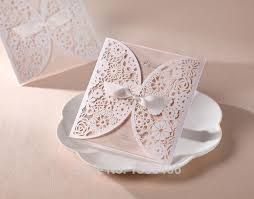 white laser wedding invitation card cut cover flowers with