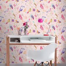 Natural Home Decor Rasch Birds Wallpaper Yellow Pink Natural Home Wall Decor