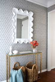 Entryway Table With Baskets Brian Paquette Entryway Quadrille Patterned Wallpaper Thin