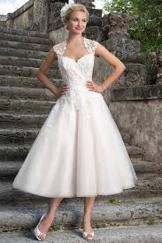 tea length wedding dresses uk straps sleeveless tulle lace tea length a line 50s style wedding