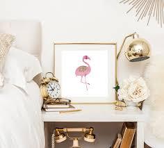 pink flamingo home decor pink flamingo print rose gold print rose gold decor