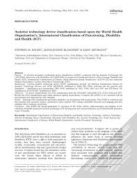 Social Security Research Paper Assistive Technology Device Classification Based Upon The World