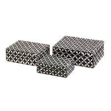 3 white bone inlay u0026 black geometric cross pattern decorative