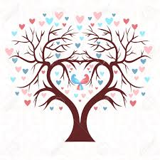 wedding tree the wedding tree in the shape of a heart with two birds and