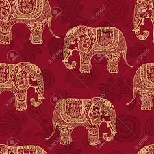 Musterk Hen Klare Nahtlose Textur Mit Stilisierten Muster Elefanten Im