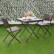 Folding Bistro Chairs Costway 3 Pc Outdoor Folding Table Chair Furniture Set Rattan