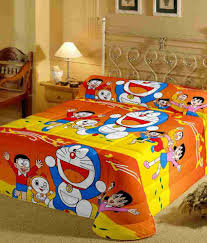 3d Print Bed Sheets Online India Cartoon Prints Doraemon Single Bed Sheet With Pillow Cover 220 Tc