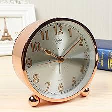Small Desk Clock Gold White Collar Fashion Alarm Clock Bedside