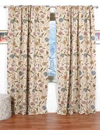 Cotton Drapery Panels Sosan Crewel Curtain Panels And Drapes Hand Embroidered Cotton Fabric