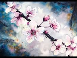 cherry blossom flowers watercolor cherry blossom flowers watercolor painting tutorial