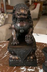 lion dog statue antique bronze foo lion dog pair for sale at 1stdibs