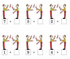number bonds and addition to 10 worksheet for ks1 with circus